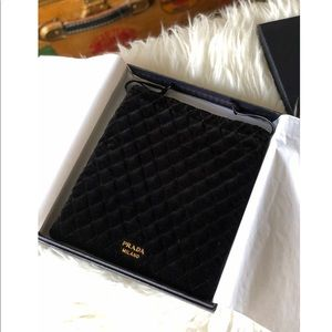 Authentic Prada Black Quilted Velvet Pouch